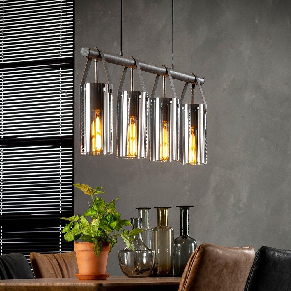 Luminaire - Suspension avec 4 lampes 100x12x150 cm en verre chromé photo 1