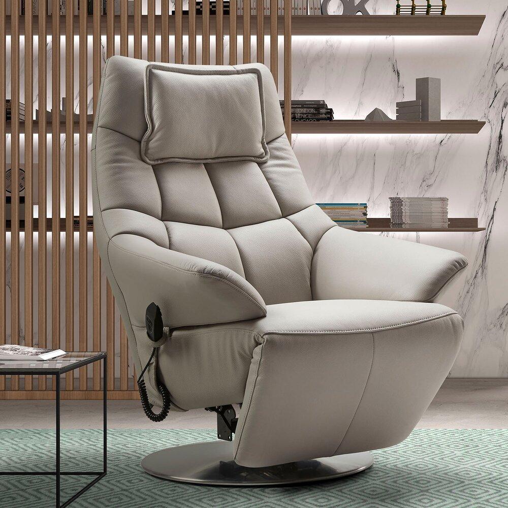 Fauteuil de relaxation - Fauteuil de relaxation électrique en cuir gris - VERONE photo 1