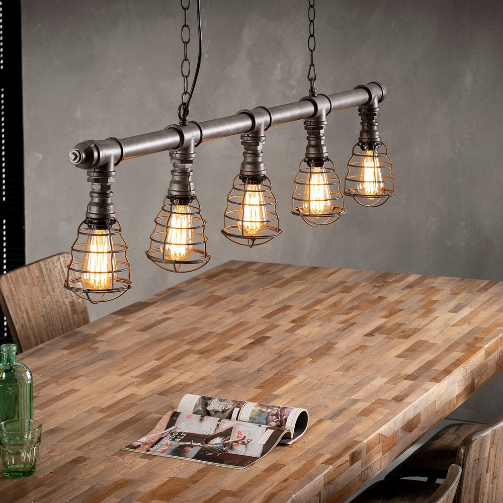Luminaire - Suspension 5 lampes 127x150 cm en métal argent photo 1