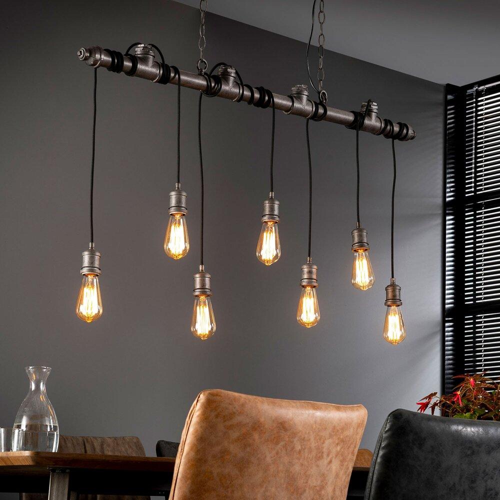 Luminaire - Suspension 7 lampes 120x150 cm en métal argent - HANGY photo 1