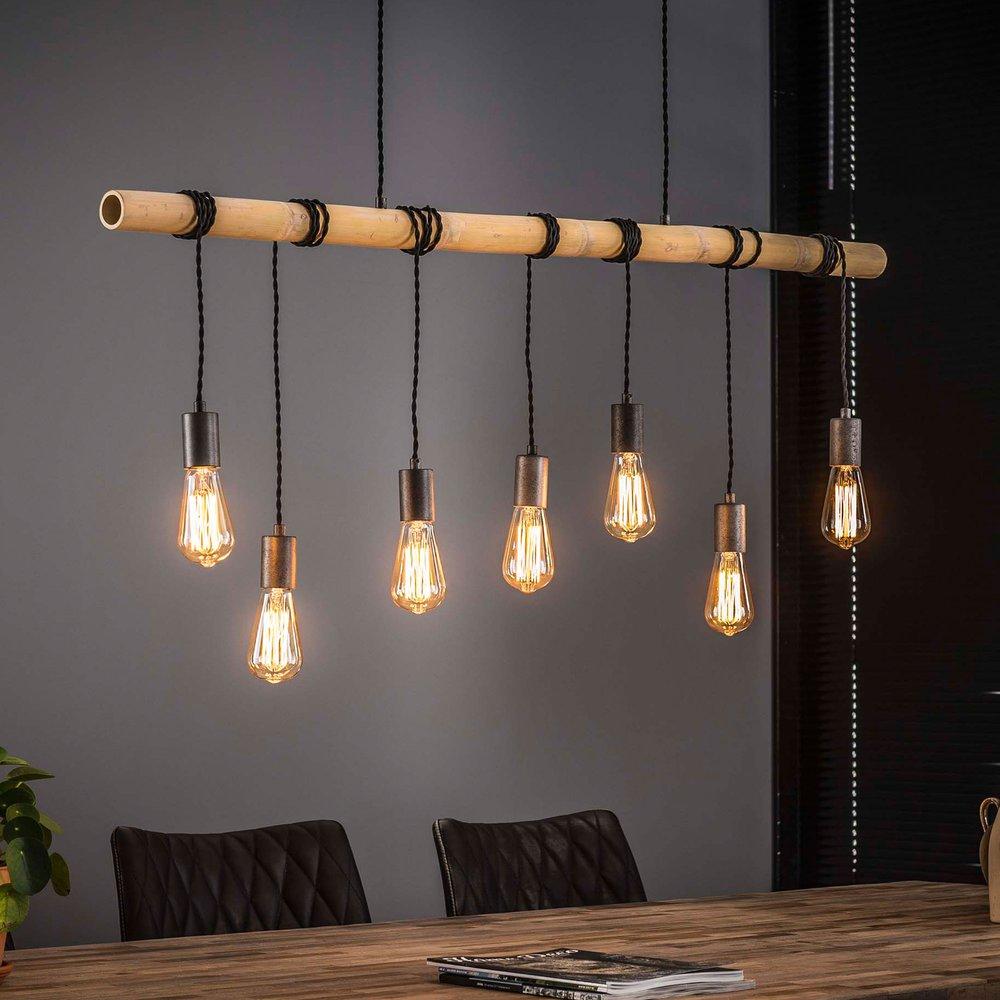 Luminaire - Suspension 7 lampes 120x150 cm en bambou et métal argent - HANGY photo 1