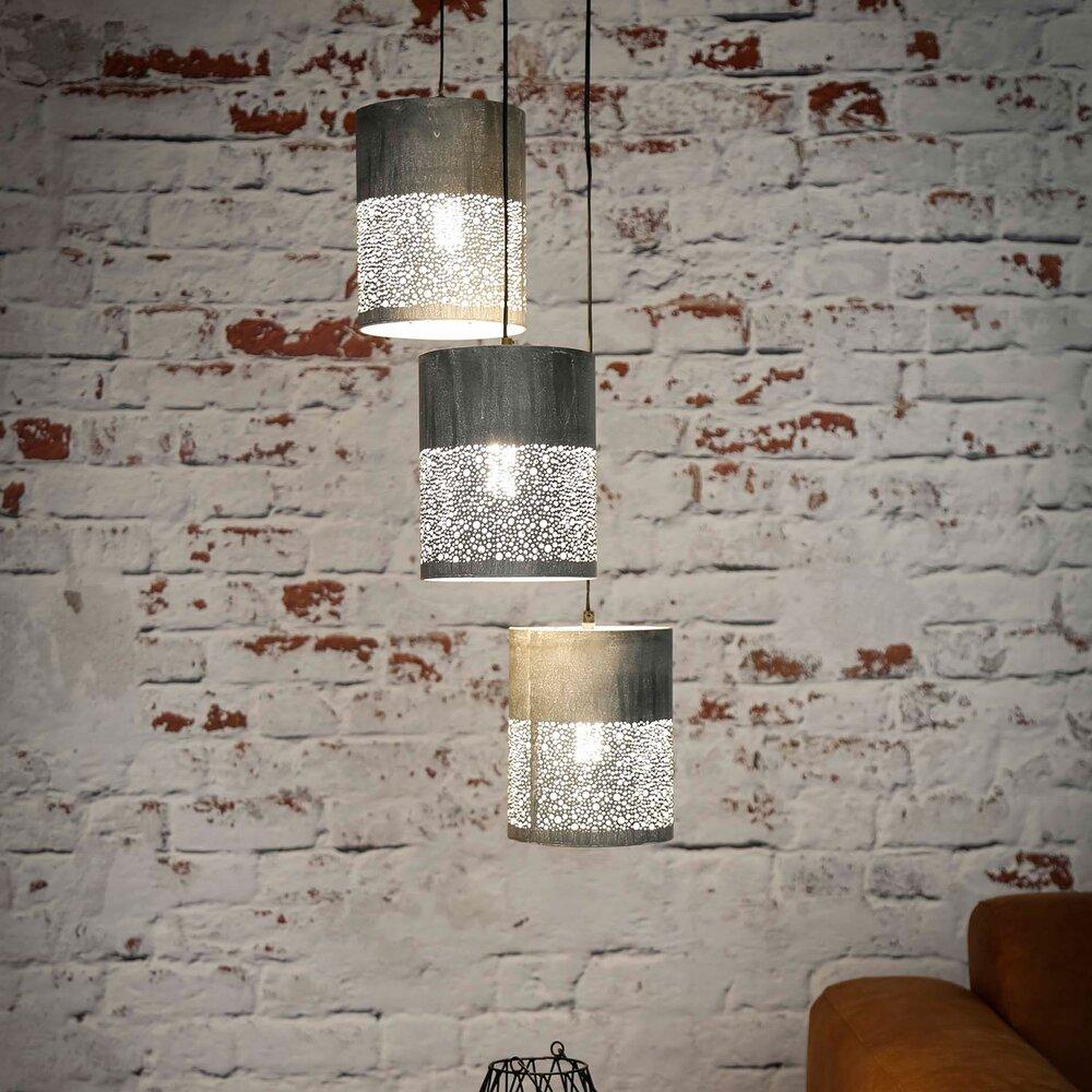Luminaire - Suspension 3 lampes 35x150 cm en métal effet béton gris photo 1