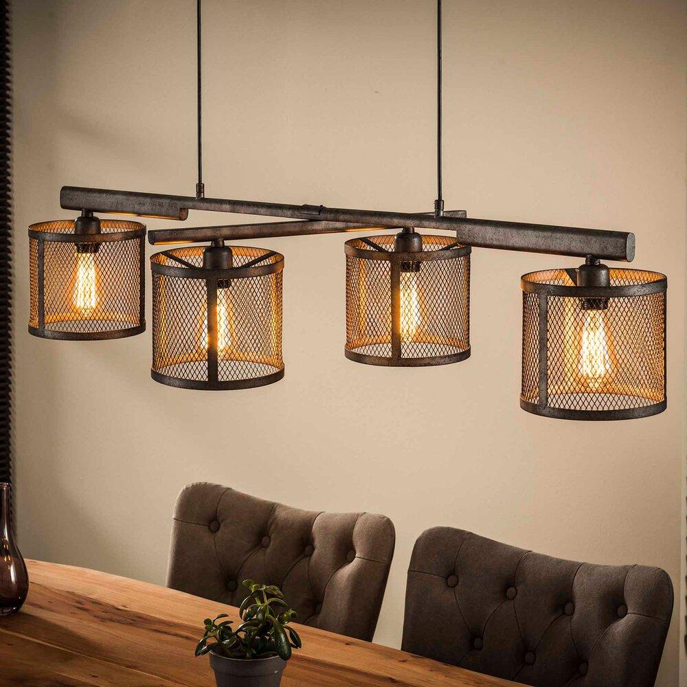 Luminaire - Suspension industrielle 4 lampes avec abat-jour grille argent photo 1