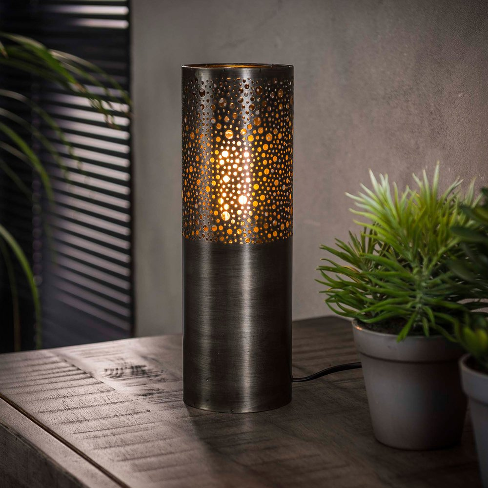Luminaire - Lampe de table 10x10x30 cm en nickel noir - NICKY photo 1