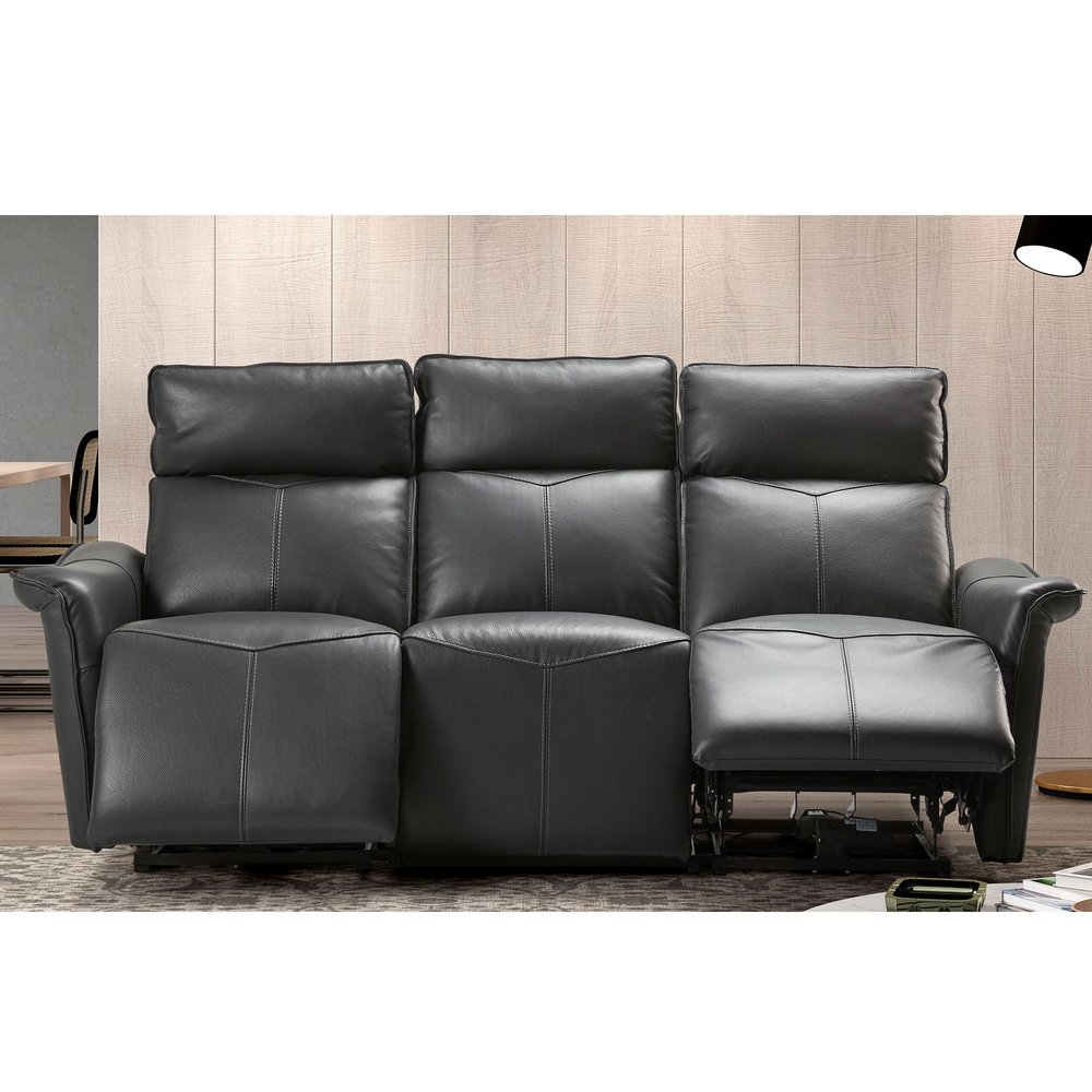 Canapé de relaxation - Canapé de relaxation 3 places en cuir noir - KIEVA photo 1
