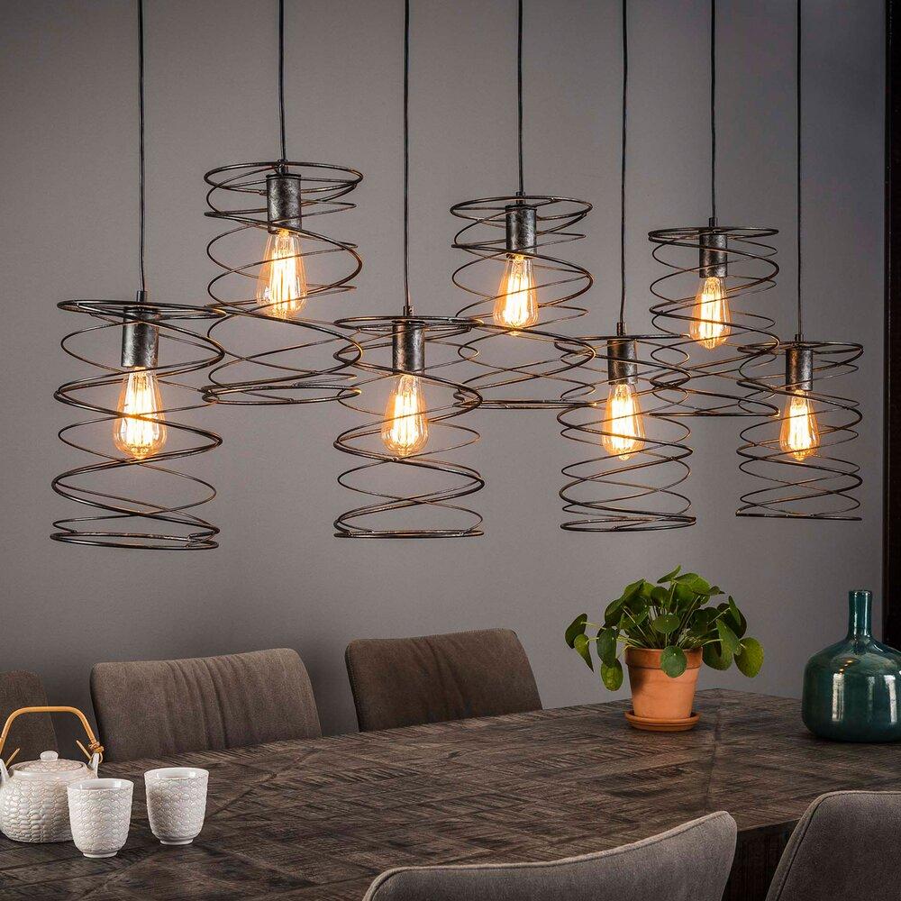 Luminaire - Suspension 7 lampes avec abat-jour spirale en métal - SPIRA photo 1