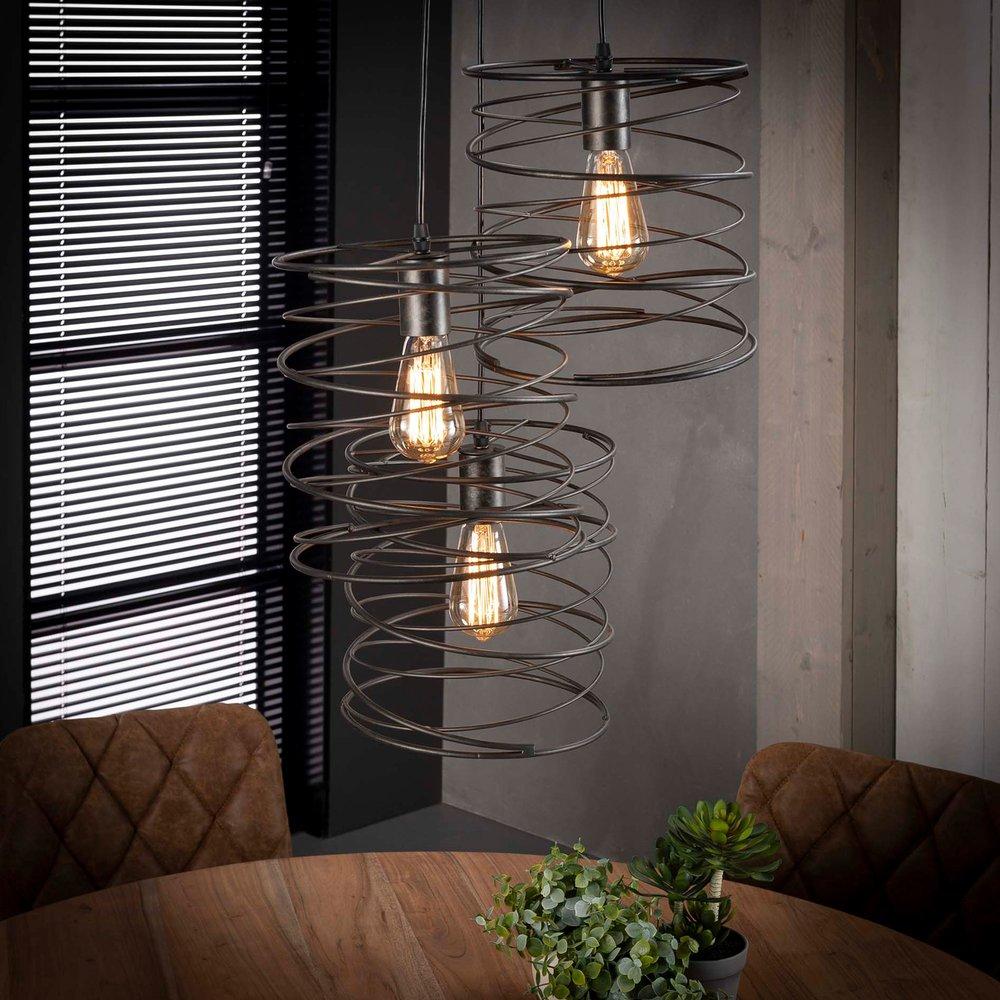 Luminaire - Suspension 3 lampes avec abat-jour spirale en métal - SPIRA photo 1