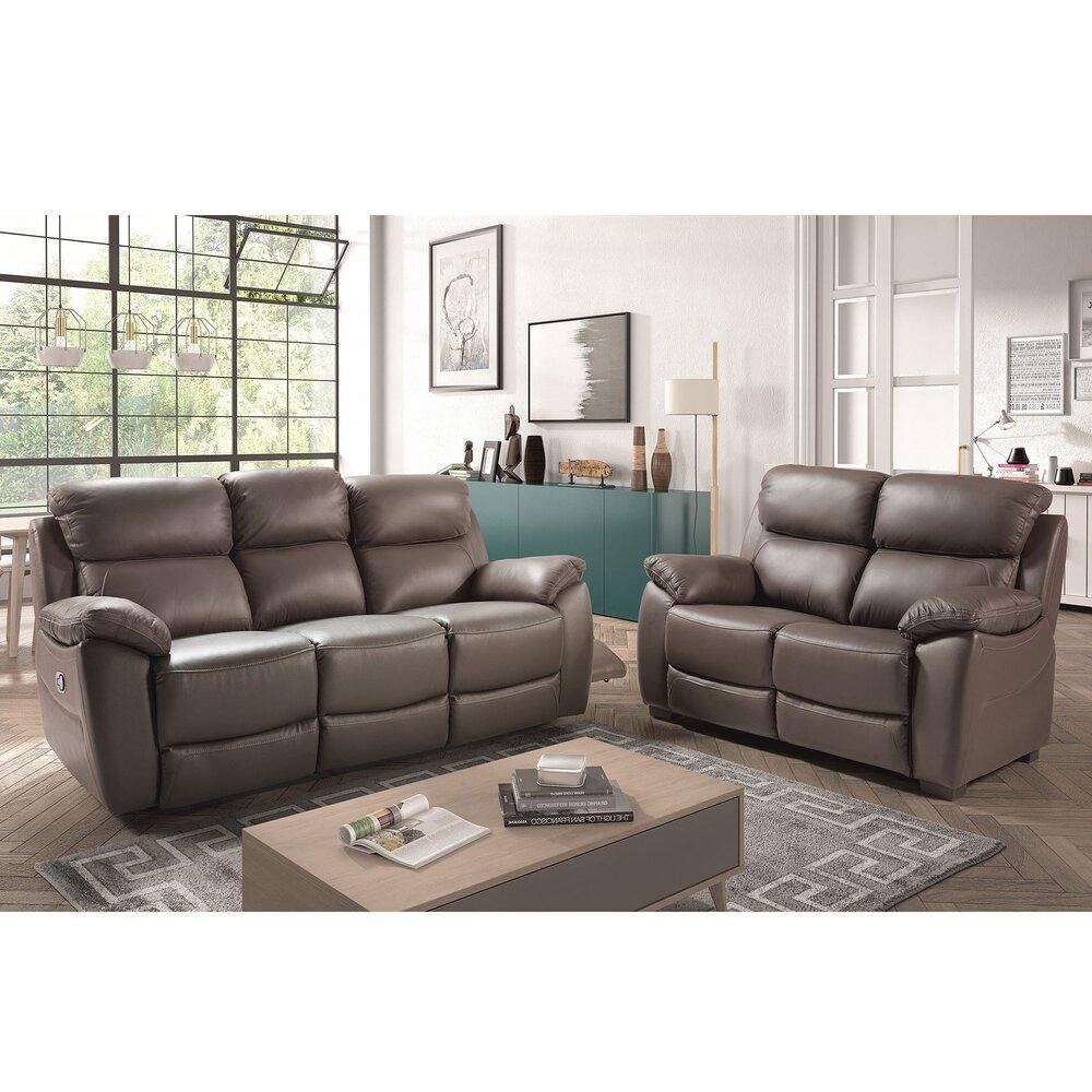 Canapé de relaxation - Ensemble de canapé 3 + 2 places en cuir gris - PARME photo 1
