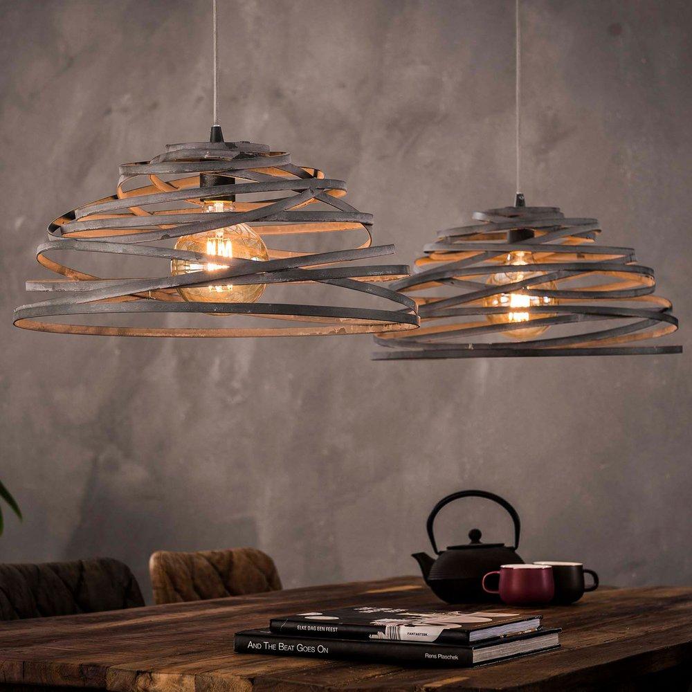 Luminaire - Suspension 2 lampes 140x50x150 cm en acier gris photo 1