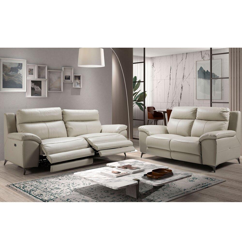 Canapé de relaxation - Ensemble de canapé 3 + 2 places en cuir gris clair - NEBRASKA photo 1