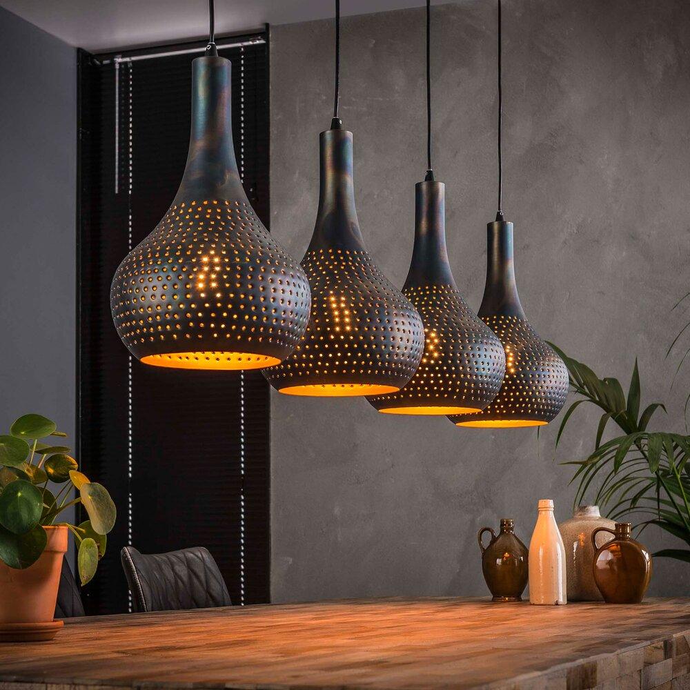 Luminaire - Suspension industrielle 4 lampes coniques 130x150 cm en métal noir photo 1