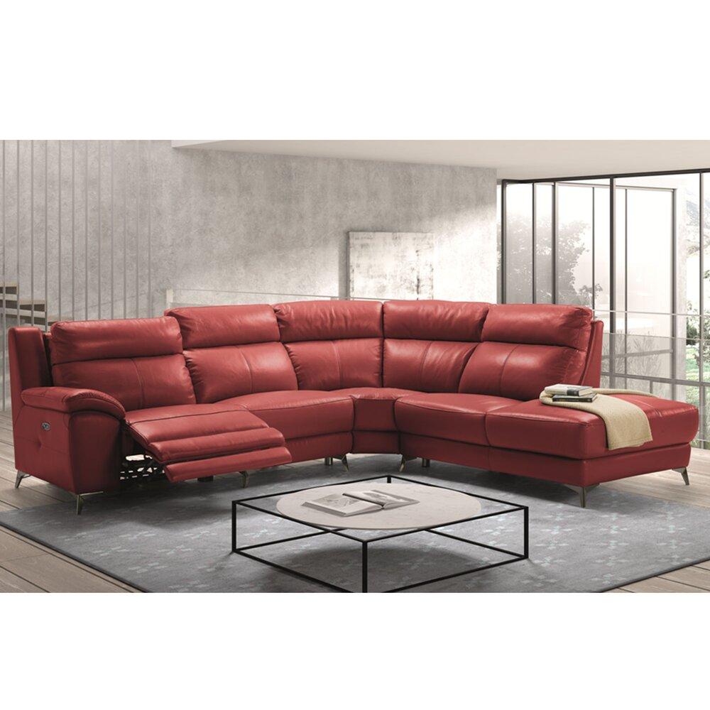 Ressort Zig Zag Canapé Avis canapé de relaxation d'angle à droite en cuir rouge