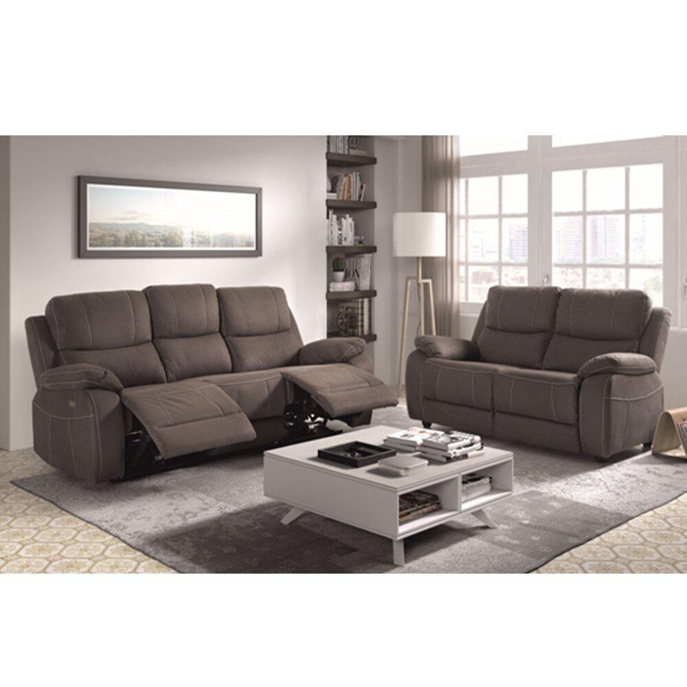 Canapé de relaxation - Ensemble de canapé 3 + 2 places en microfibre gris - MONACO photo 1