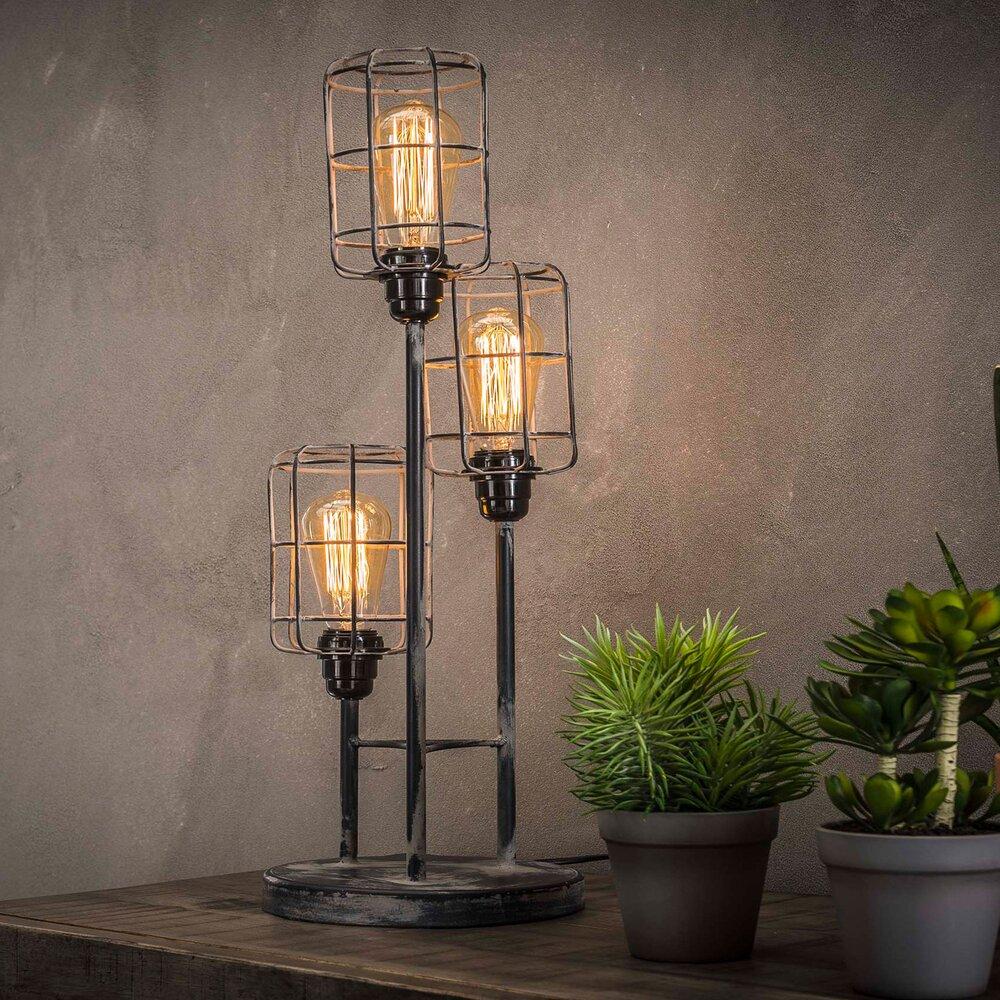Luminaire - Lampe de table 3 ampoules avec abat-jour cage en métal gris - CAGY photo 1
