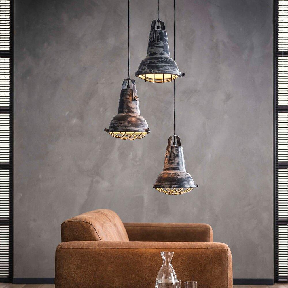 Luminaire - Suspension 3 lampes 42x42x150 cm en fer gris photo 1