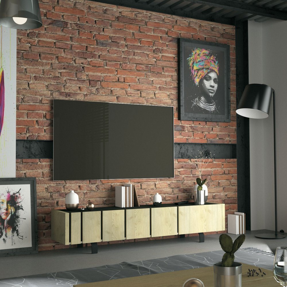 Meuble TV - Hifi - Meuble TV 3 portes 190x40,5x41,5 cm chêne et noir - SOREN photo 1