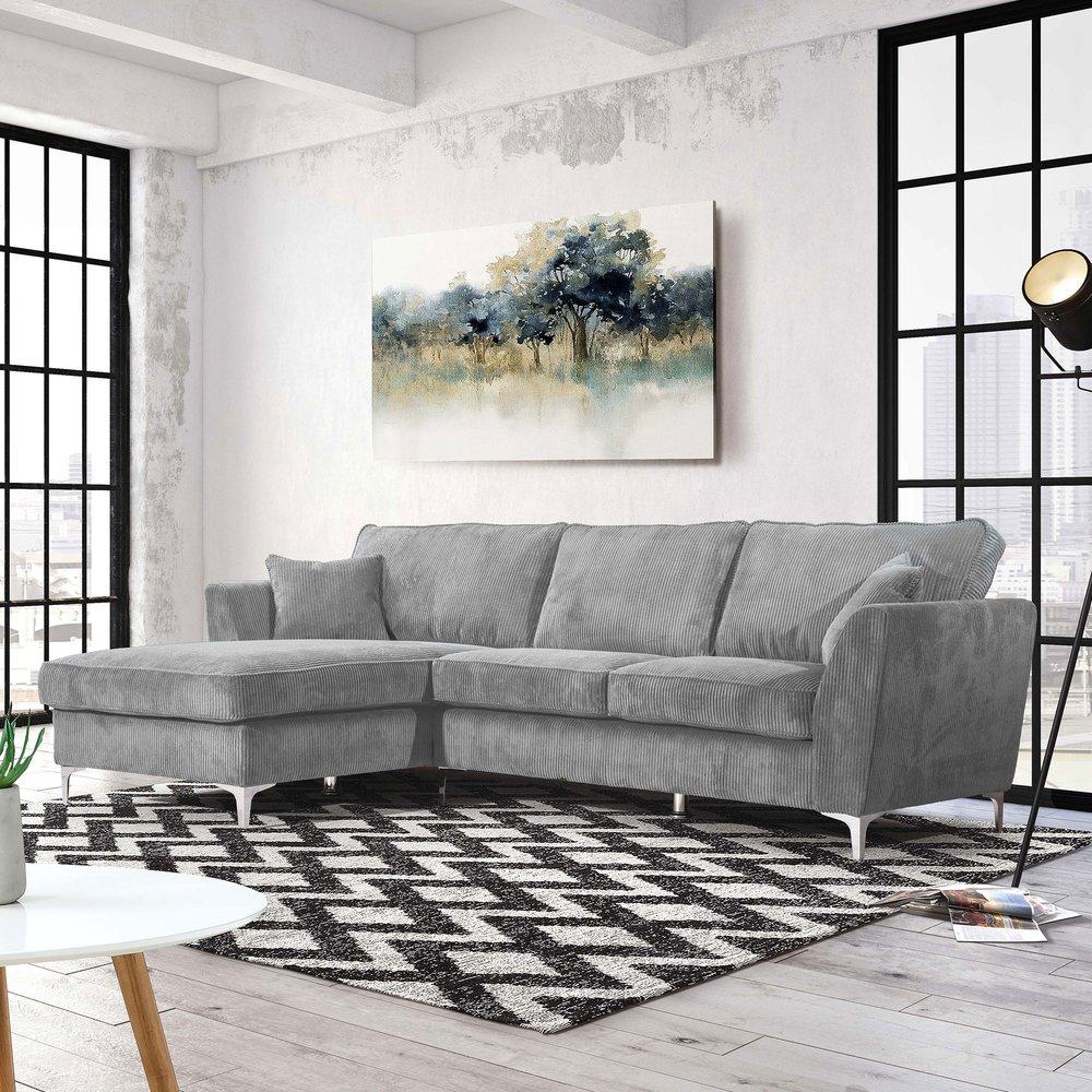 Canapé - Canapé d'angle à gauche en tissu gris - BONITA photo 1