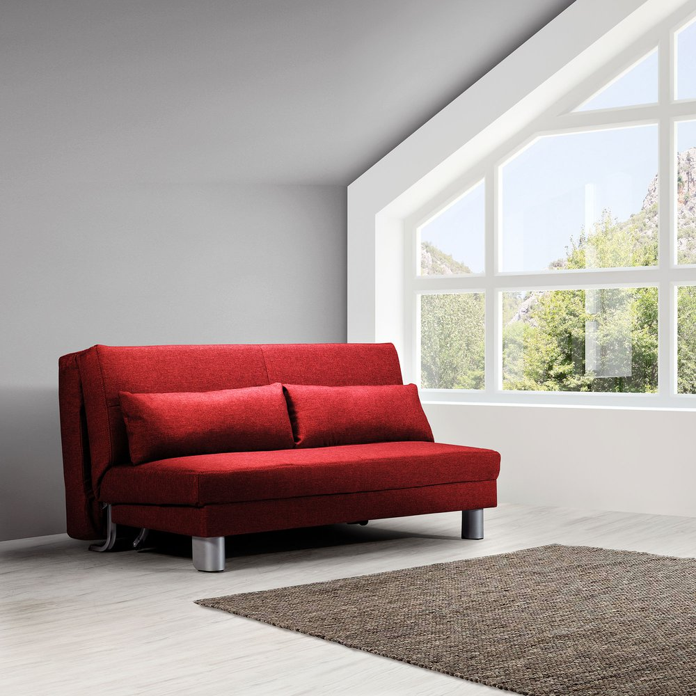 Banquette - Banquette-lit 160 cm en tissu rouge - OZEN photo 1