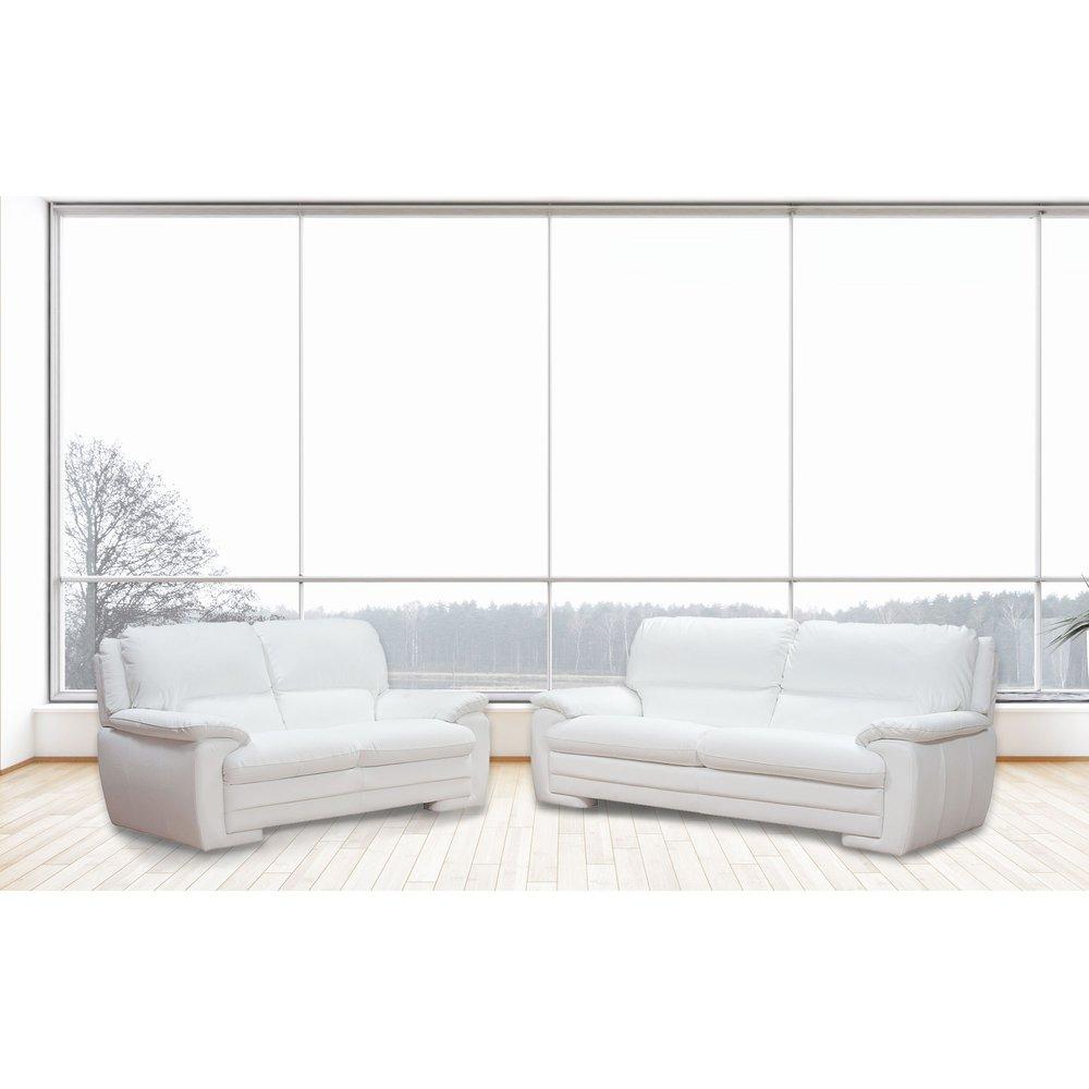 Canapé - Ensemble de canapé 3 + 2 places en cuir blanc - LIESTEN photo 1
