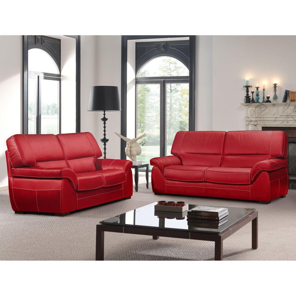 Canapé - Ensemble de canapé 3 + 2 places en cuir rouge - CORTINA photo 1