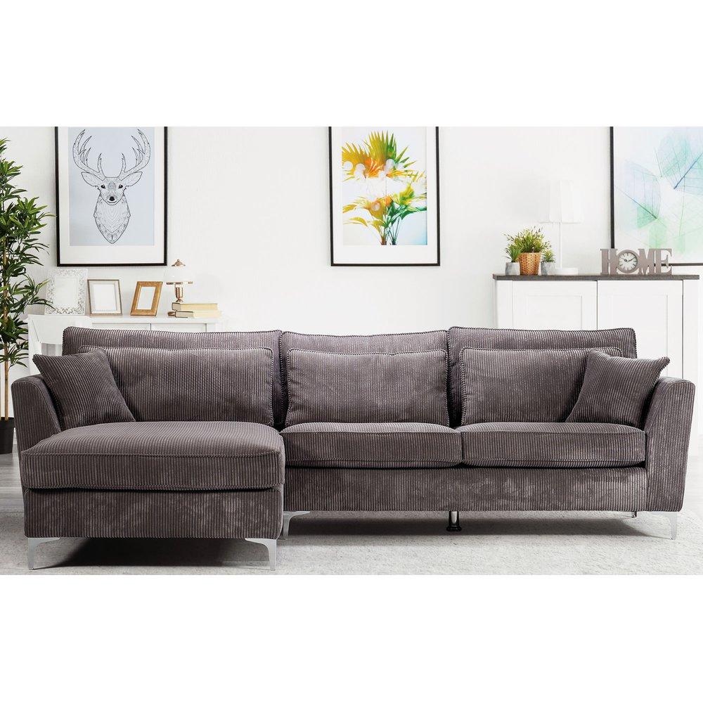 Canapé - Canapé d'angle à gauche en tissu gris - ISLA photo 1
