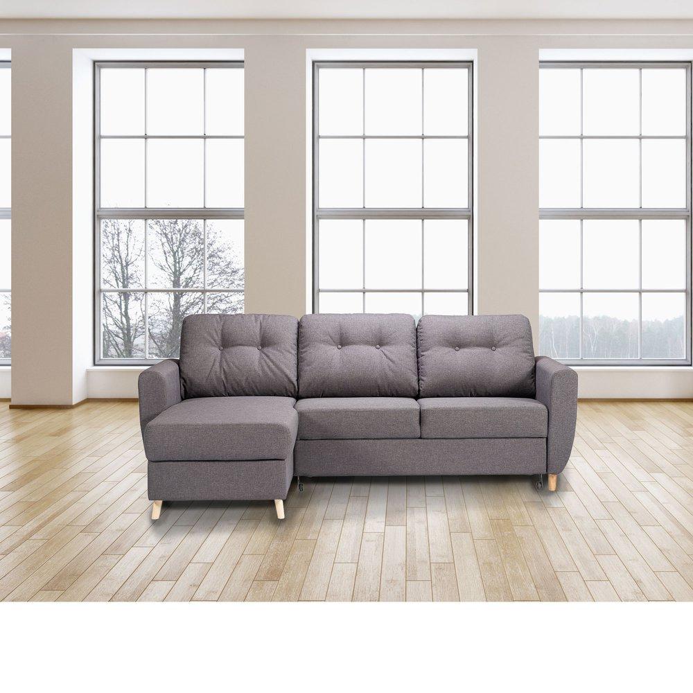Canapé - Canapé d'angle à gauche convertible avec coffre en tissu gris - YLIES photo 1
