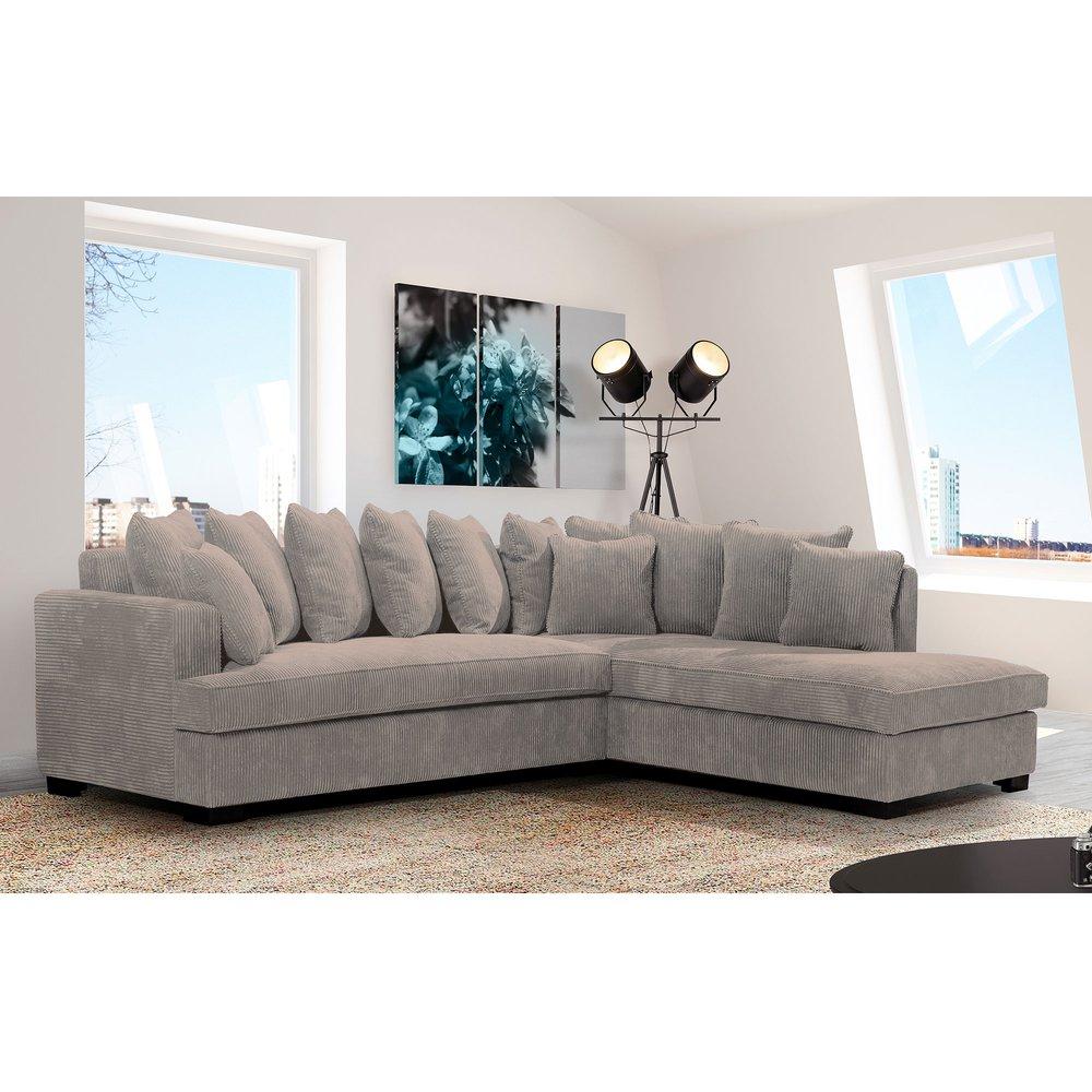 Canapé - Canapé d'angle à droite en tissu gris clair - SAMOA photo 1