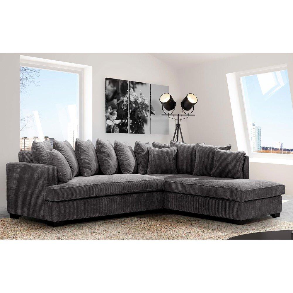 Canapé - Canapé d'angle à droite en tissu gris foncé - SAMOA photo 1