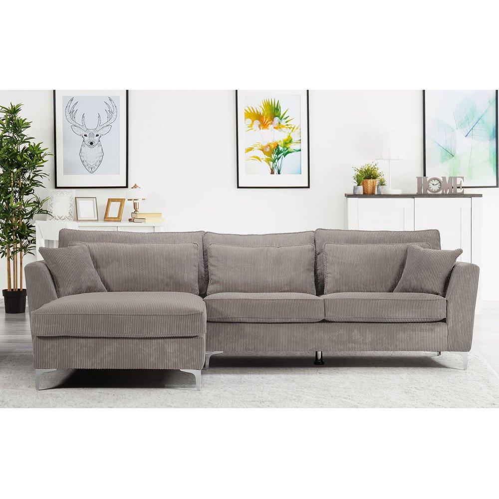 Canapé - Canapé d'angle à gauche en tissu gris clair - ISLA photo 1