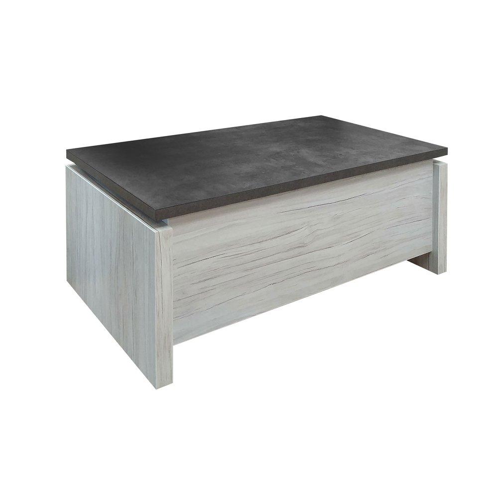 Table basse - Table basse avec plateau relevable gris et béton - SENTIA photo 1