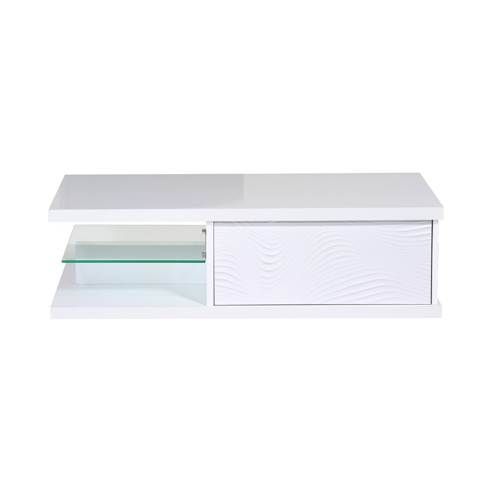 Table basse - Table basse 1 tiroir 120x60x37 cm blanc brillant - FLOYD photo 1