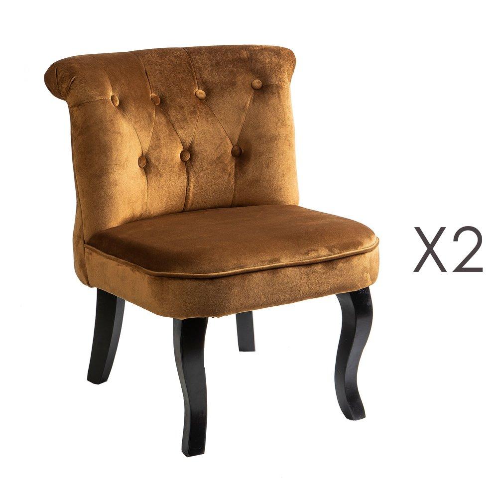 Lot de 2 fauteuils crapaud en velours cuivre TOADY