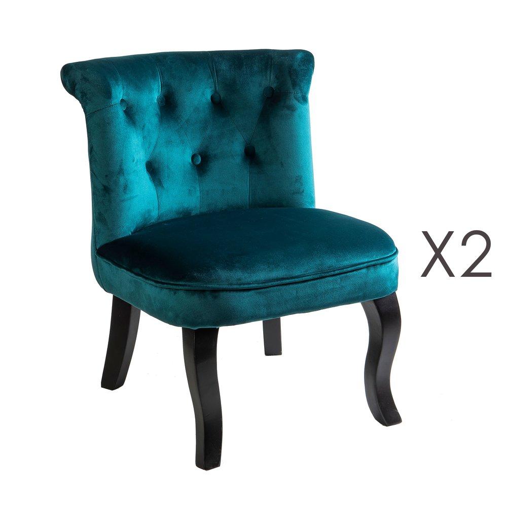 Fauteuil - Lot de 2 fauteuils crapaud en velours bleu - TOADY photo 1