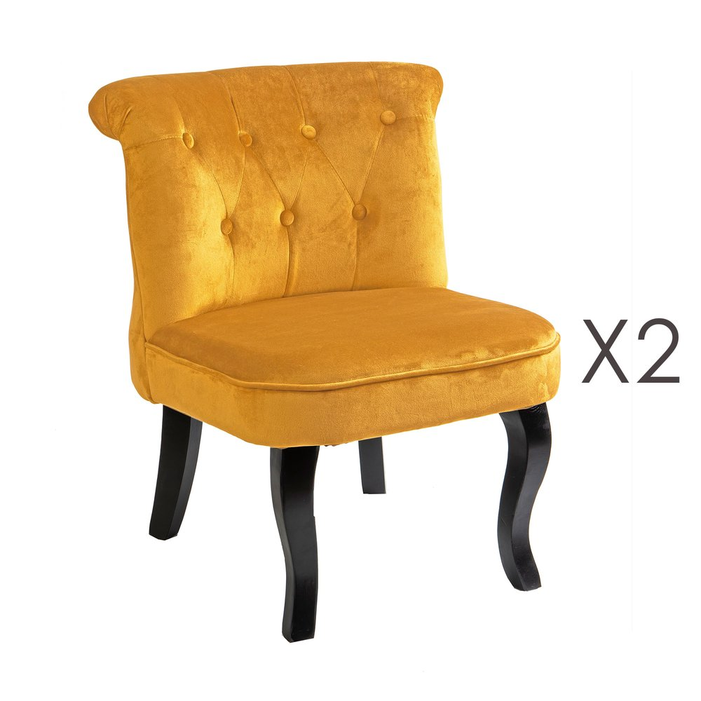 Fauteuil - Lot de 2 fauteuils crapaud en velours jaune - TOADY photo 1