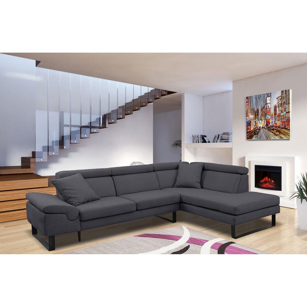 Canapé - Canapé d'angle à droite fixe en tissu anthracite - KURT photo 1