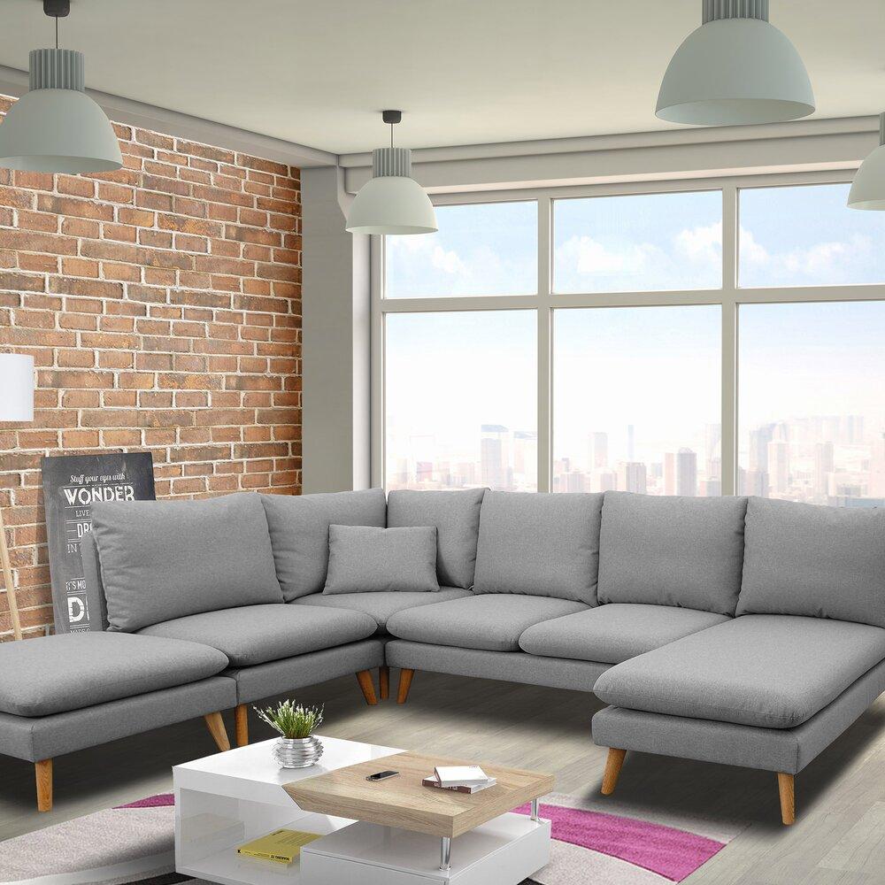 Canapé - Canapé d'angle modulable 6 personnes en tissu gris clair - HOMY photo 1