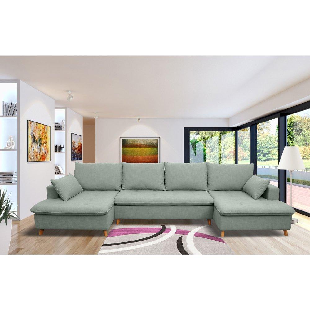 Canapé - Canapé d'angle en U en tissu vert-grisé photo 1