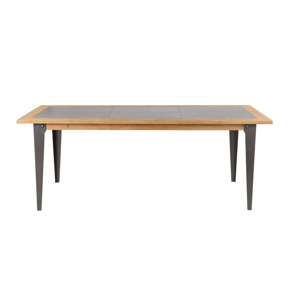 Table - Table repas 200x88x76 cm en pin et métal - MAIKO photo 1
