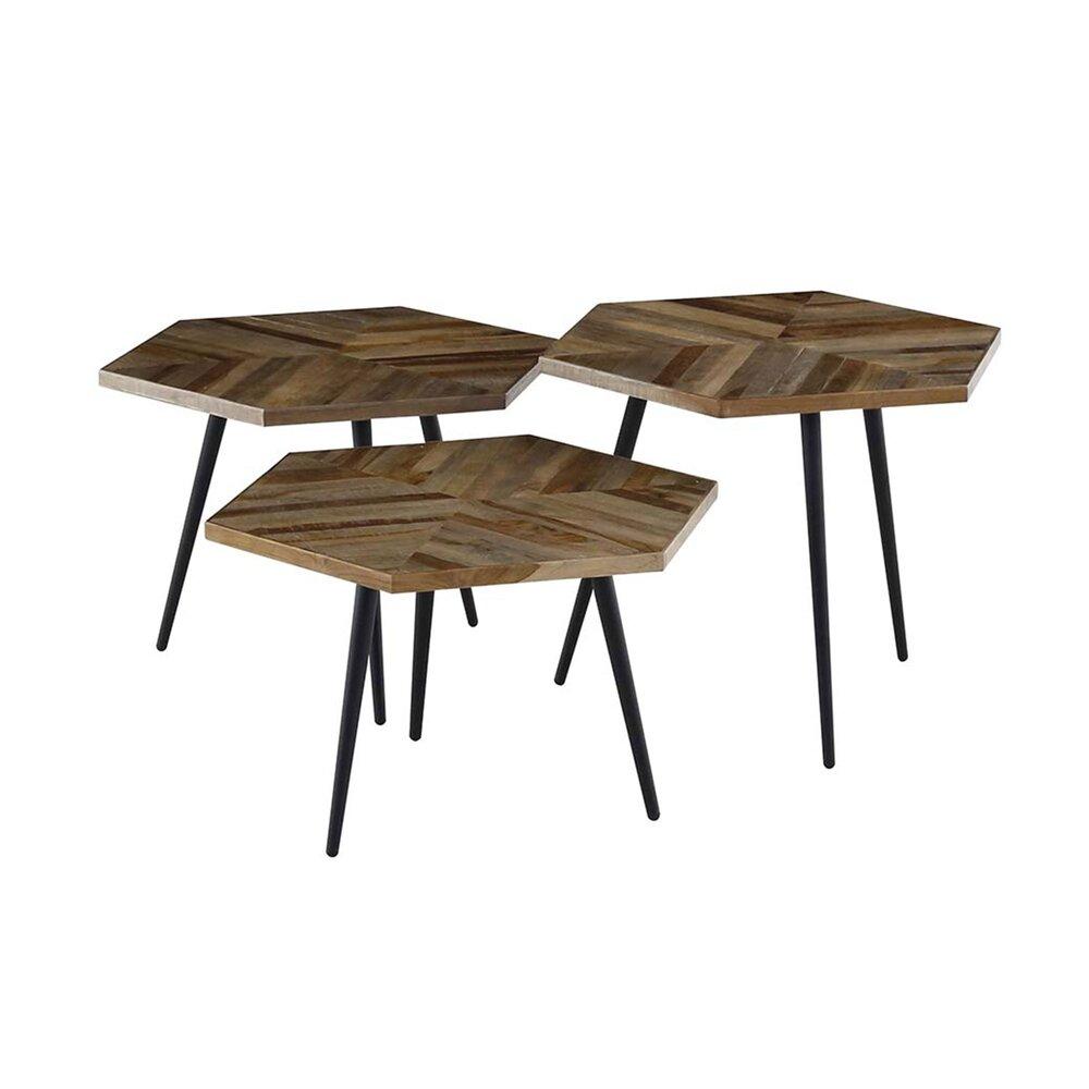 Table basse - Lot de 3 tables basses hexagonales 55 cm en teck recyclé - ALEN photo 1