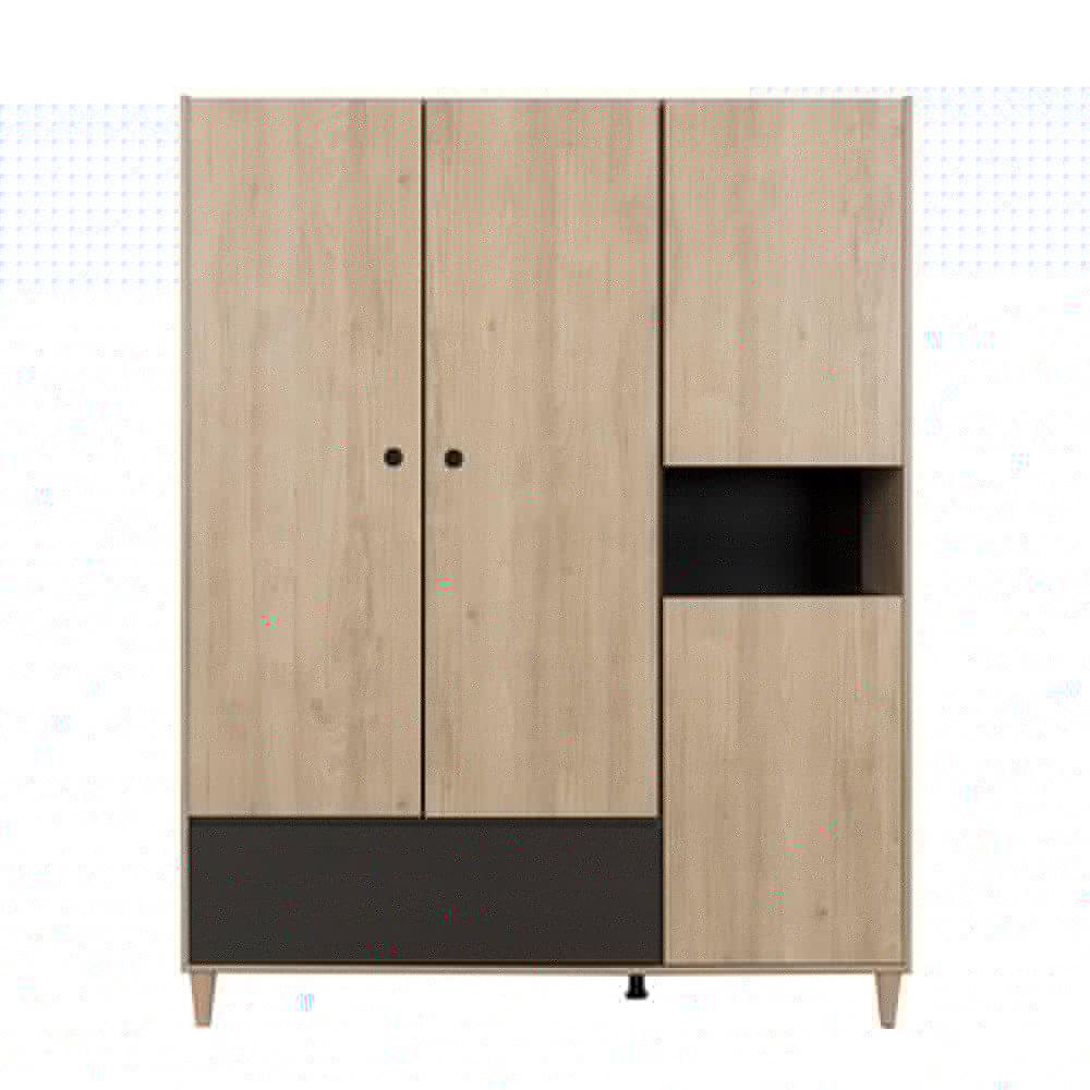 Armoire - Armoire 3 portes et 1 tiroir 153x58x195 cm naturel et gris - RUBEN photo 1
