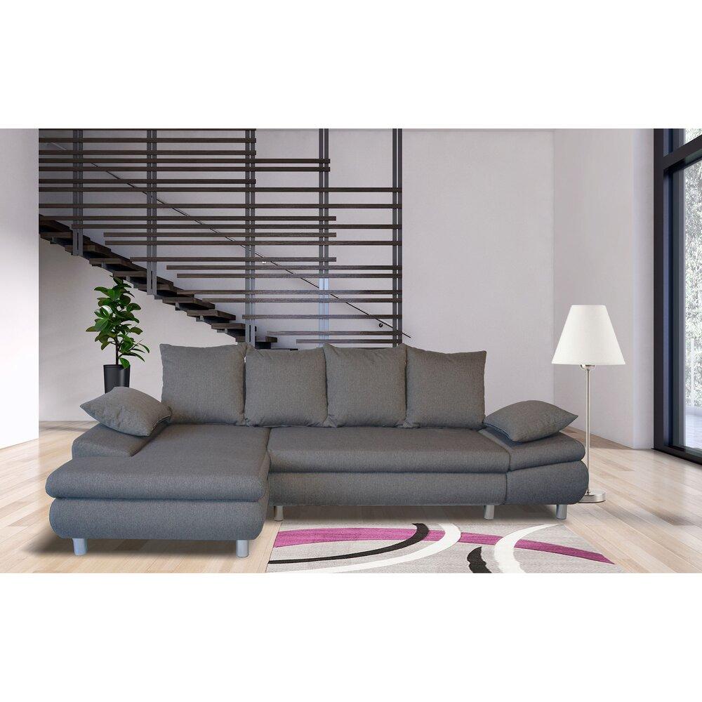 Canapé - Canapé d'angle à gauche convertible en tissu gris - XENA photo 1