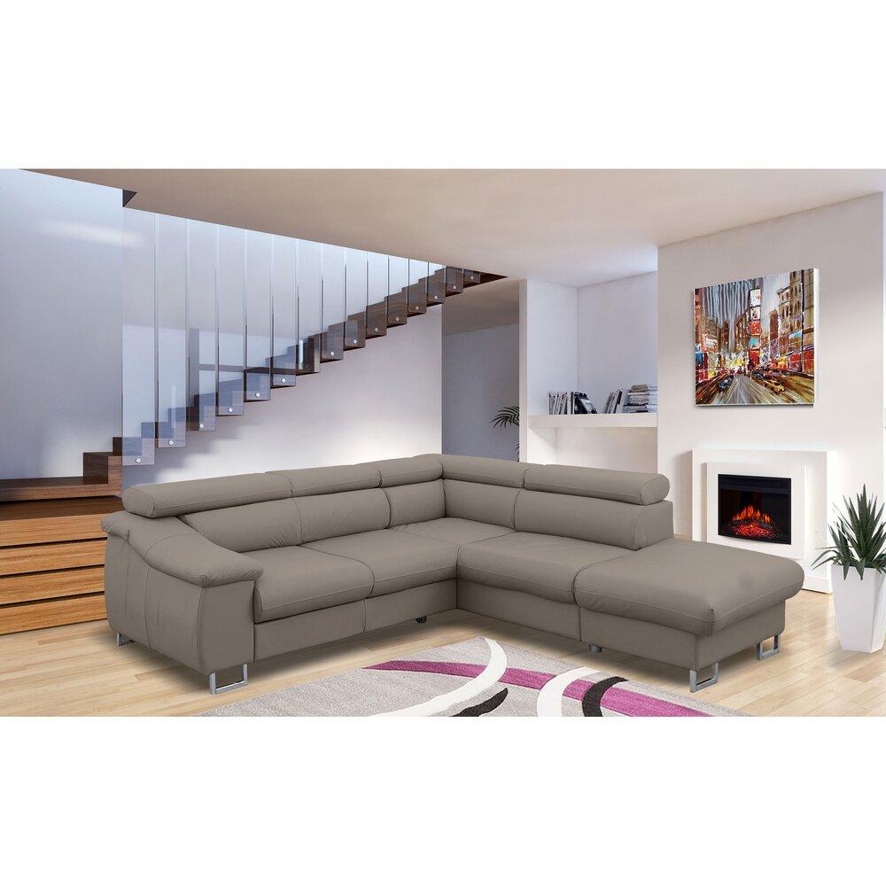 Canapé - Canapé d'angle fixe à droite avec têtières réglables en tissu taupe photo 1