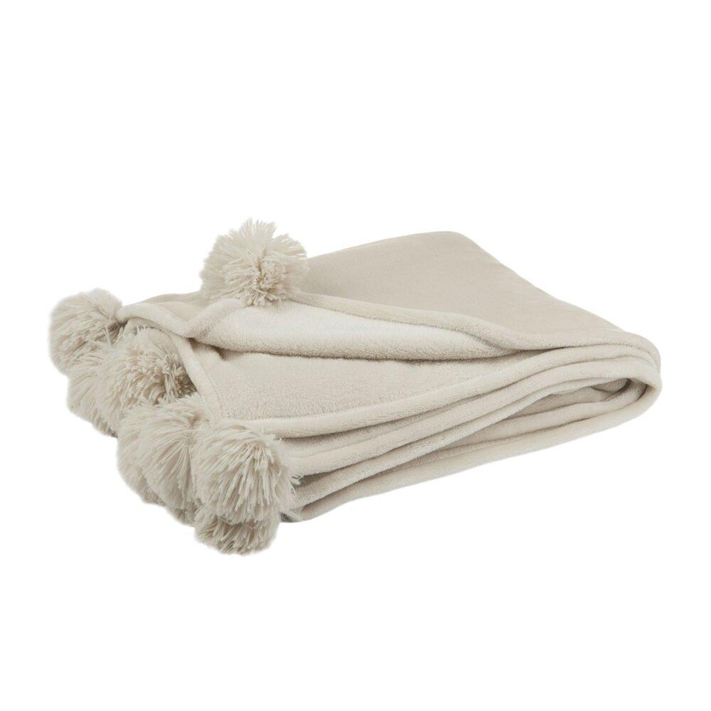 Couvre-lits et accessoires - Plaid en polyester 170x130 cm avec pompons beige - MEGGY photo 1