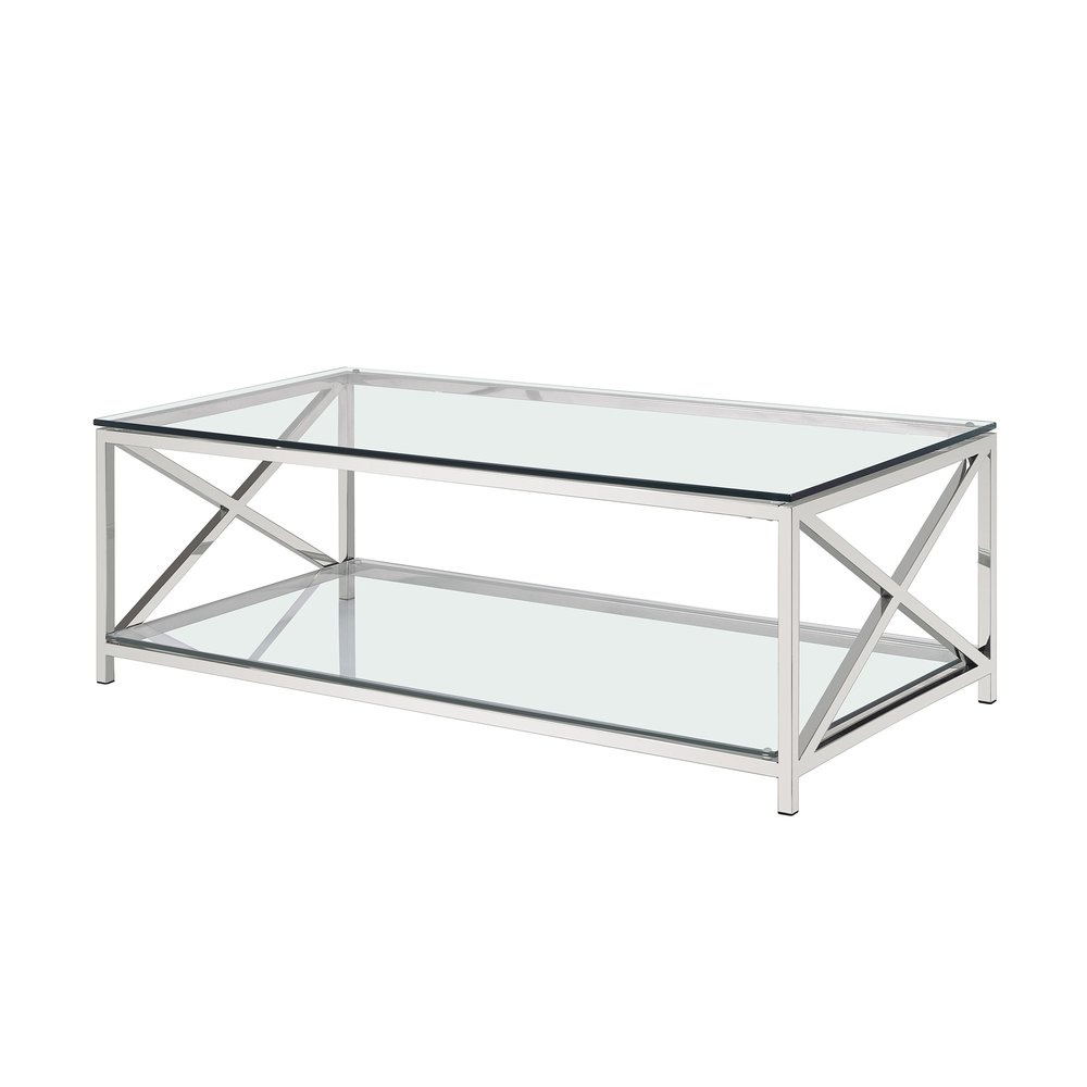 Table basse - Table basse 120 cm plateaux en verre et piètement en acier - AMELYS photo 1