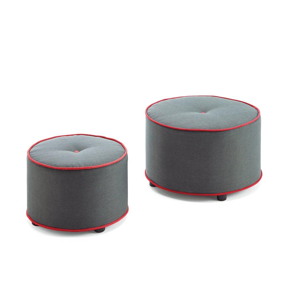 Pouf - Lot de 2 poufs ronds 62 cm en tissu gris et passepoil rouge photo 1