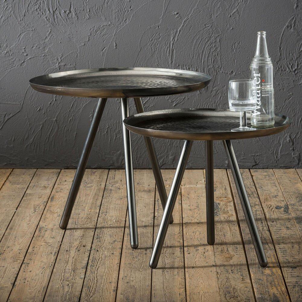 Table basse - Lot de 2 tables d'appoint rondes 58 et 50 cm en métal noir photo 1