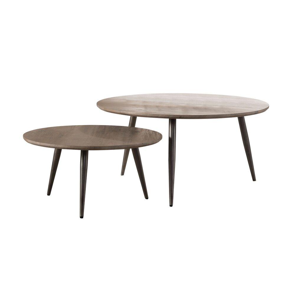 Table basse - Lot de 2 tables basses rondes 80 et  60 cm décor chêne grisé photo 1