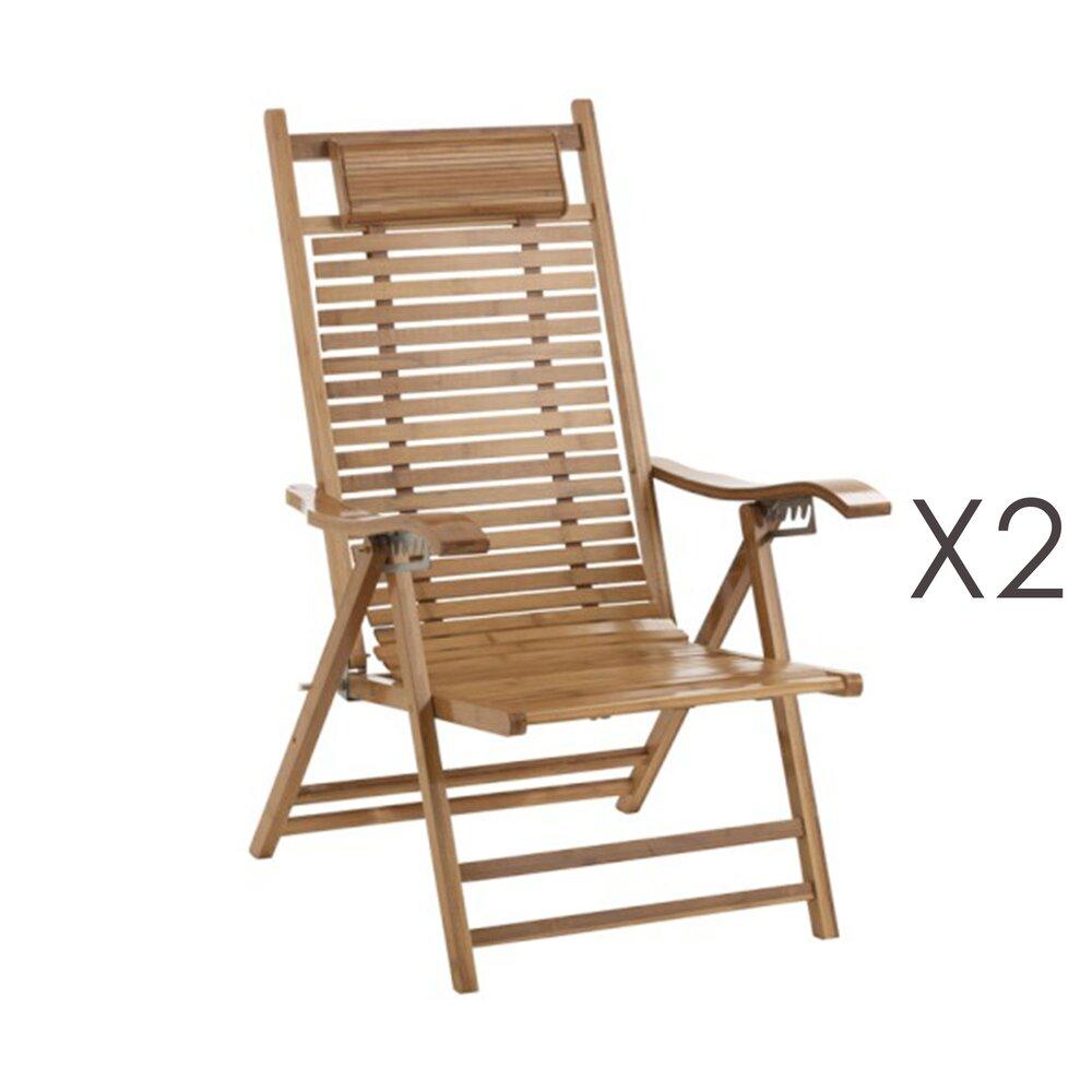 Meuble de jardin - Lot de 2 chaises longues pliantes en bambou naturel photo 1