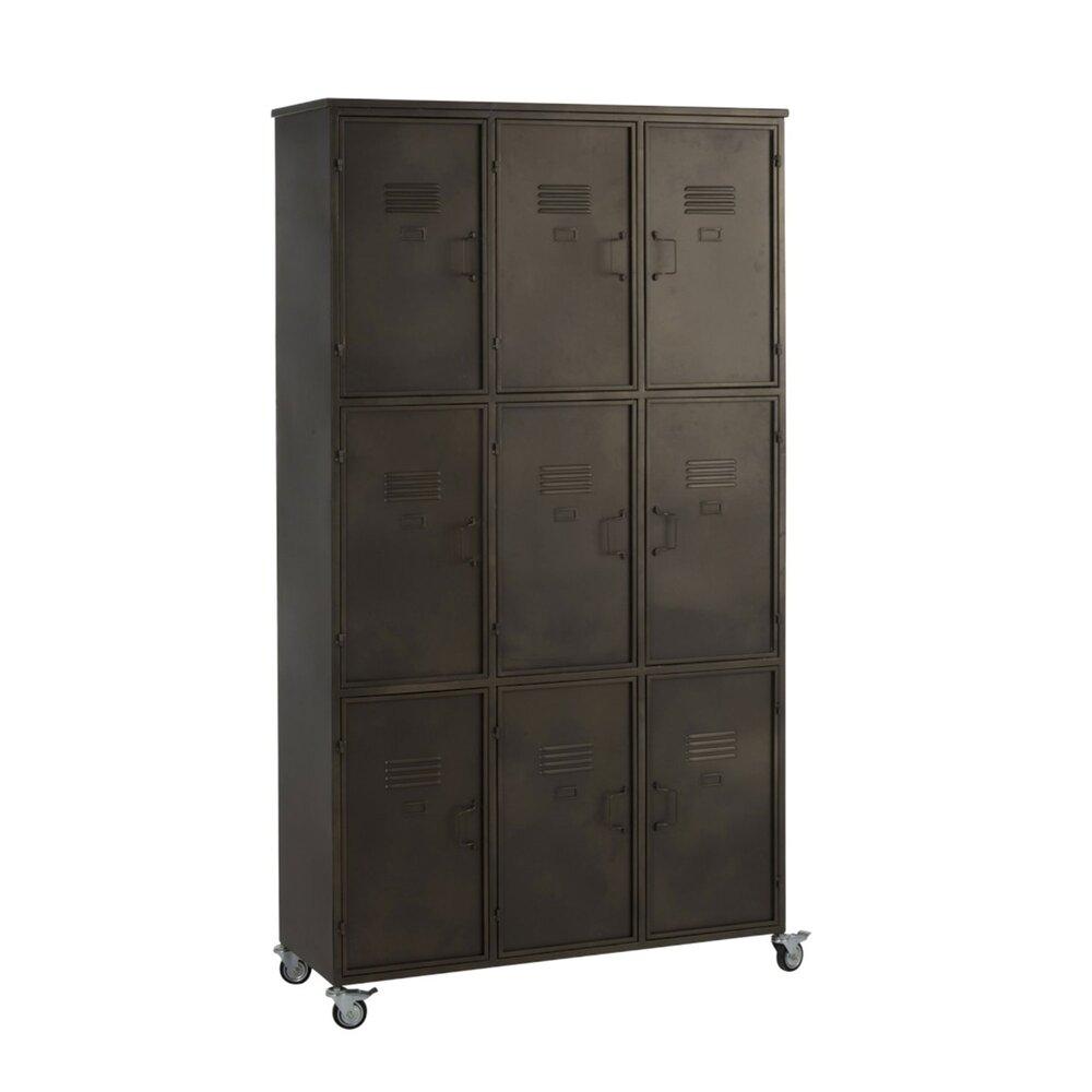 Armoire - Armoire d'atelier sur roulettes avec 9 portes en métal gris photo 1