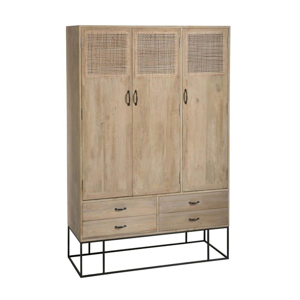 Armoire - Armoire 3 portes et 4 tiroirs 115x45x175 cm en manguier - HANOI photo 1